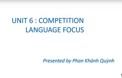 Unit 6: Competitions: Language focus, Supplement