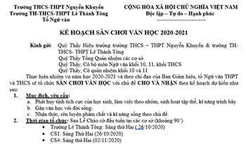 KẾ HOẠCH SÂN CHƠI VĂN HỌC 2020-2021